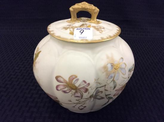 Signed Floral Decorated Biscuit Jar w/ Lid