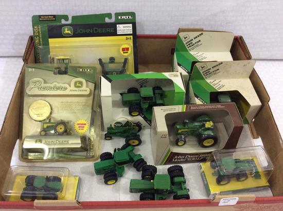Group of 11 Sm. John Deere Tractors-Most w/ Boxes