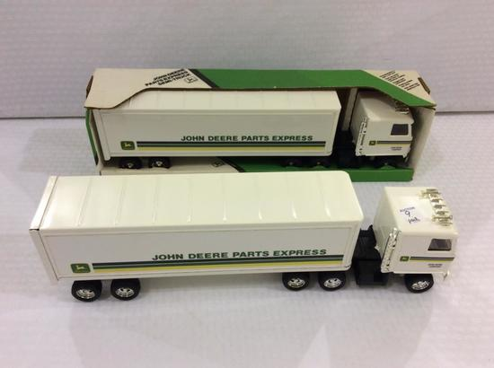 Lot of 2 John Deere Parts Express Semi-Trucks