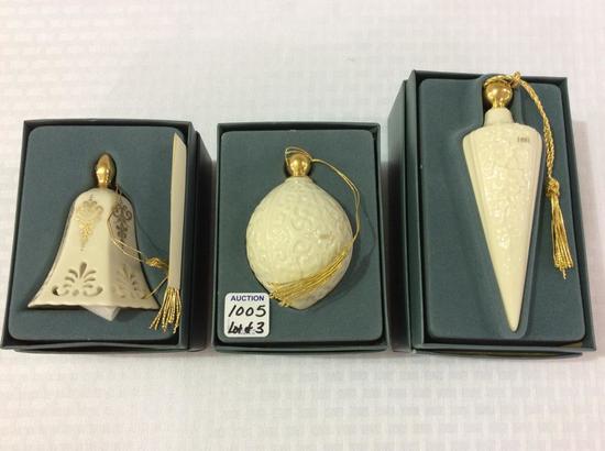 Lot of 3 Lenox Christmas Ornaments in Original