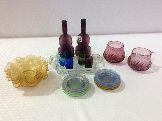 Group of Glassware Including Sm. Divided Glass