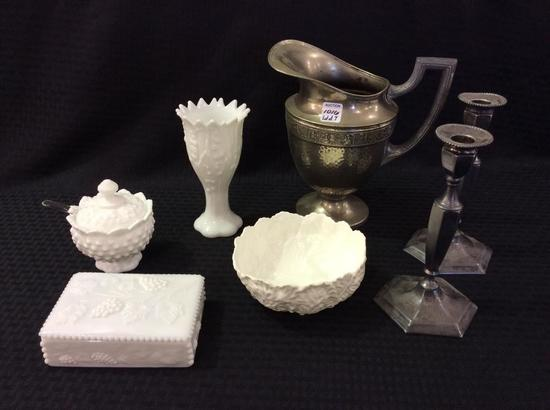 Lot of 7 Including Pewter/Silver Pitcher,
