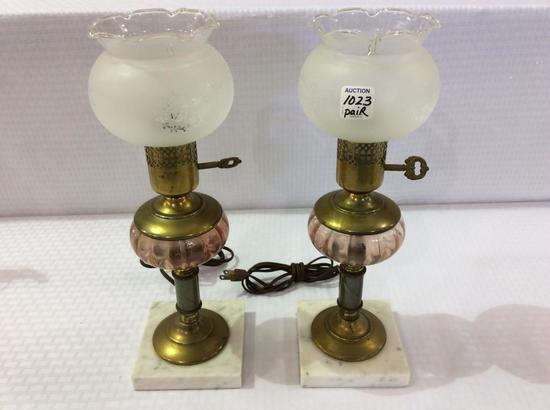 Pair of Marble Base Made in Italy Brass & Glass