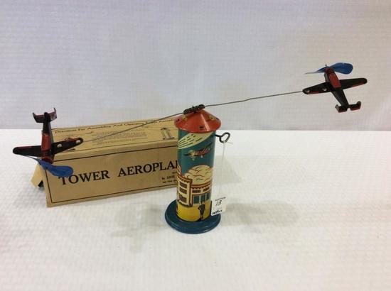 Vintage Louis Marx Tower Keywind Aeroplane