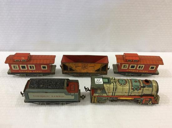 Lot of 5 Tin Toy Train Pieces by Unique Art