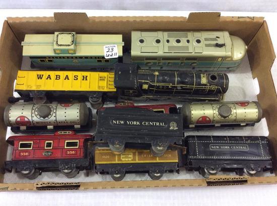 Lot of 11 Various Tin Train Cars