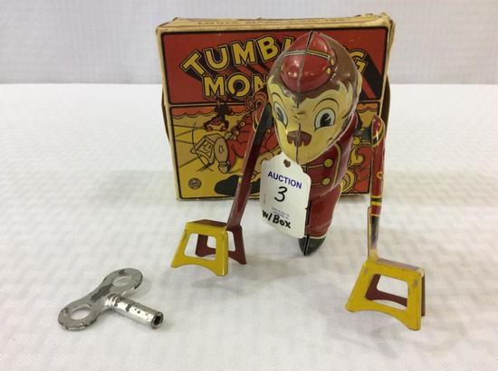 Marx Key Wind Up Tumbling Tin Toy Monkey