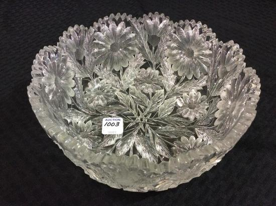 Very Heavy Ornate Floral Design Cut Glass Bowl