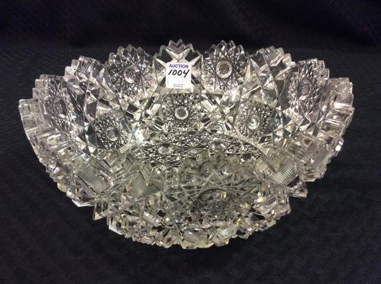 Heavy Ornate Cut Glass Bowl-Signed