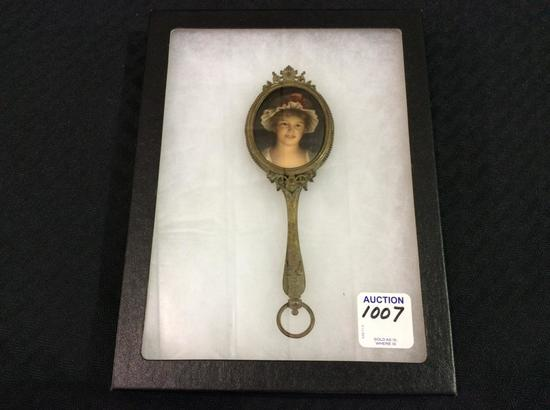 Sm. Victorian Ornate Metal Mirror