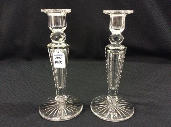 Pair of Matching Ornate Glass Candle Sticks