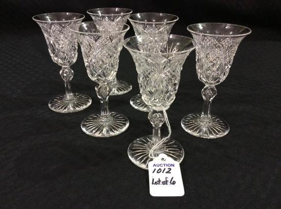 Lot of 6 Matching Cut Glass Stemmed Cordials