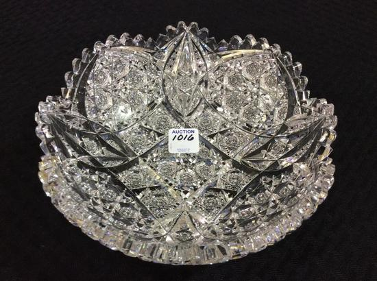 Signed Egginton Heavy Ornate Cut Glass Bowl