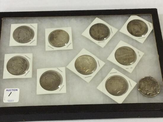 Collection of 10 Peace Silver Dollars