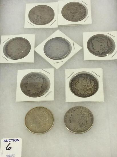 Collection of 9 Morgan Silver Dollars