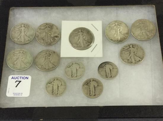 Collection of Coins Including 8 Walking Liberty