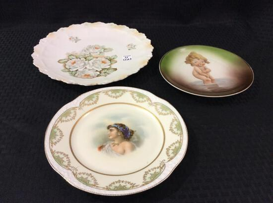 Lot of 3 Painted Plates Including
