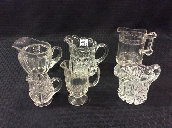 Lot of 6 Various Old Pressed Glass Cream