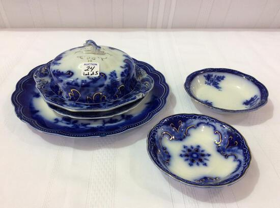 Lot of 5 Flo Blue Pieces Including 2-Sm. Bowls