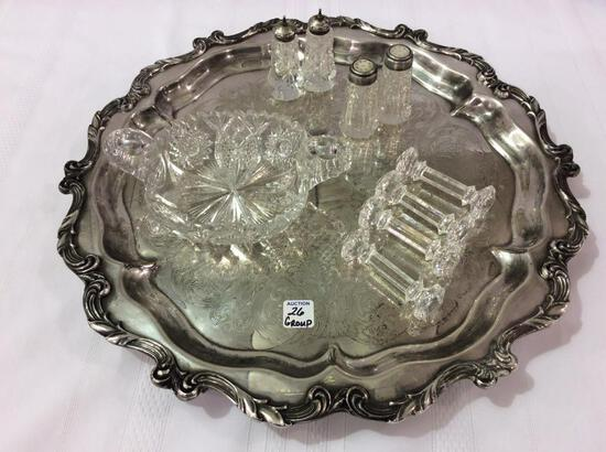 Group Including Lg. Fancy Silver Plate Tray