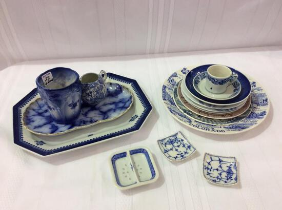 Lg. Group of Flo Blue & Various Plates