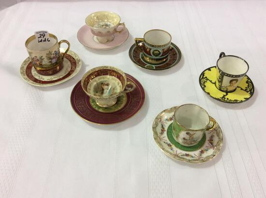 Lot of 6 Victorian Painted Demitasse Cups &