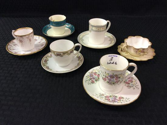 Lot of 6 Mostly Floral Painted Bone China