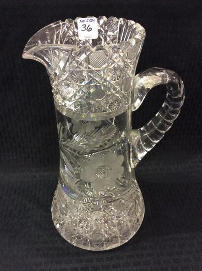 Lg. Ornate Heavy Cut Glass Pitcher