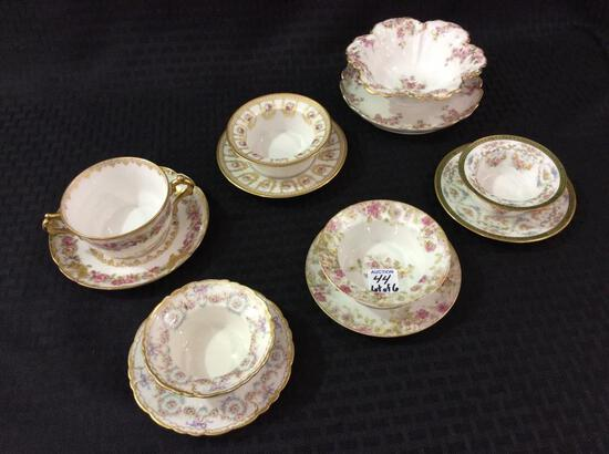 Lot of 6 Floral Painted Pieces Including 4