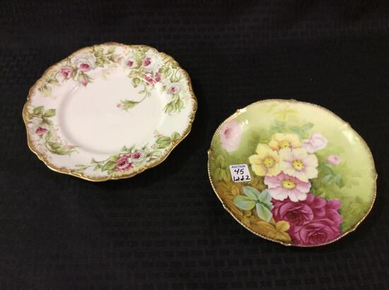 Lot of 2 Floral Painted Plates-Limoge France