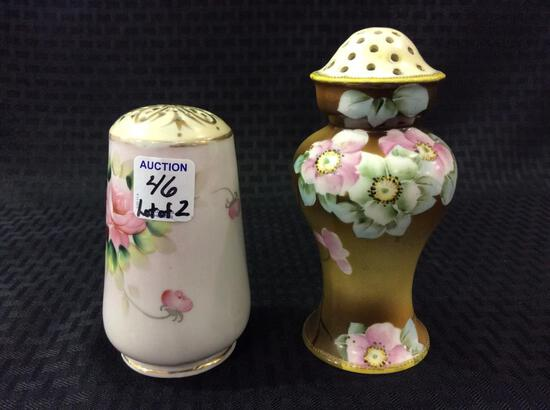 Lot of 2 Hand Painted Floral Painted
