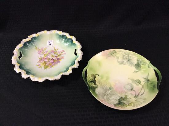 Lot of 2  Dbl. Cut Out Handle Floral Painted