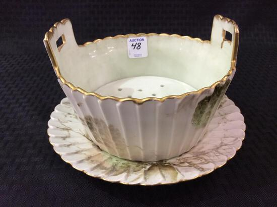 Floral Painted T&V France Dish w/ Underplate