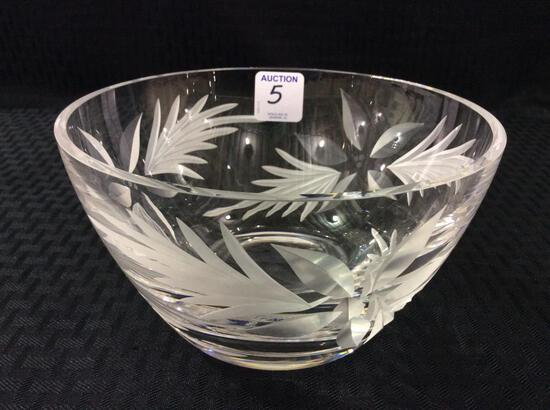 Heavy Lenox  Etched Glass Lead Crystal Bowl