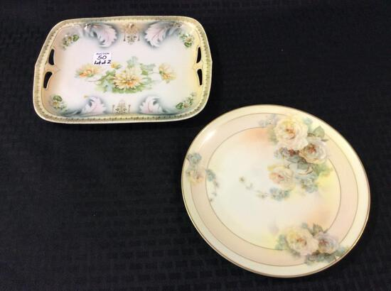 Lot of 2 Floral Painted PIeces Including