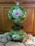 Electrified Floral Paint Dbl Globe Lamp