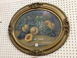 Antique Oval Framed Fruit Print