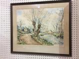 Framed-Signed Landscape Watercolor
