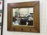 Wall Hanging Antique Mirror w/ Hat/Coat Hooks