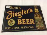 Adv. Tin Sign-Drink Ziegler's Beer