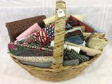 Lg. Basket Filled w/ Mostly Cotton Quilting Fabric