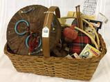 Lg. Vintage Basket w/ Vintage Sewing Basket,