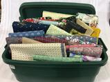 Plastic Tote Filled w/ Mostly Cotton Quilting