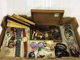 Lg. Group of Ladies Costume Jewelry, Watches