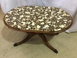 Oval Duncan Phfye Style Mosiac Top Coffee Table