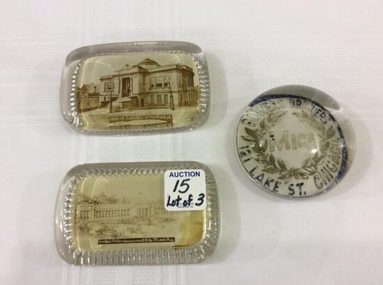 Lot of 3 Glass Paperweights Including