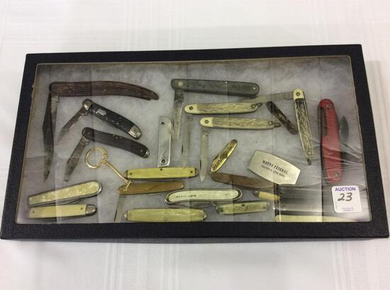 Lot of Approx. 23 Various Folding Knives