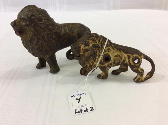 Lot of 2 Cast Iron Lions-Including One  Bank-