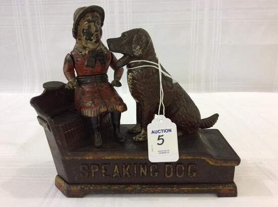 Cast Iron Speaking Dog Mechanical Bank