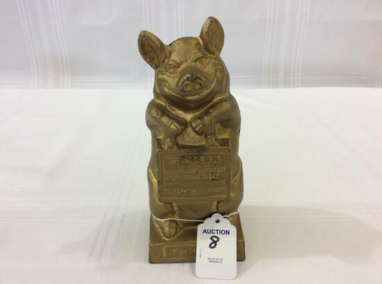 Gold Paint Iron Thrifty  Bank-The Wise Pig